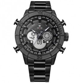 Weide Jam Tangan Digital Analog Strap Stainless Steel - WH6308 - Black/Black