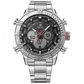 Weide Jam Tangan Digital Analog Strap Stainless Steel - WH6308 - Silver Black
