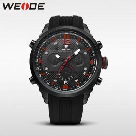 Weide Jam Tangan Analog Strap Silicone - WH6303 - Black/Red