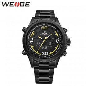 Weide Jam Tangan Analog Strap Stainless Steel - WH6306 - Black/Yellow