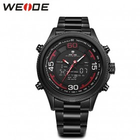Weide Jam Tangan Analog Strap Stainless Steel - WH6306 - Black/Red