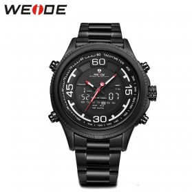 Weide Jam Tangan Analog Strap Stainless Steel - WH6306 - Black White