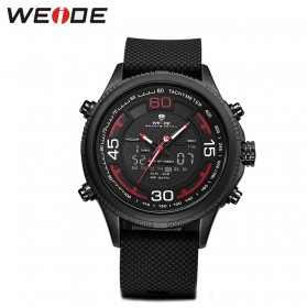 Weide Jam Tangan Analog Digital Strap Silicone - WH6306PR - Black/Red