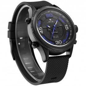 Weide Jam Tangan Analog Digital Strap Silicone - WH6306PR - Black/Blue - 2
