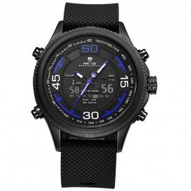 Weide Jam Tangan Analog Digital Strap Silicone - WH6306PR - Black/Blue - 4