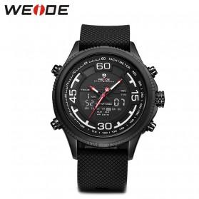 Weide Jam Tangan Analog Digital Strap Silicone - WH6306PR - Black White