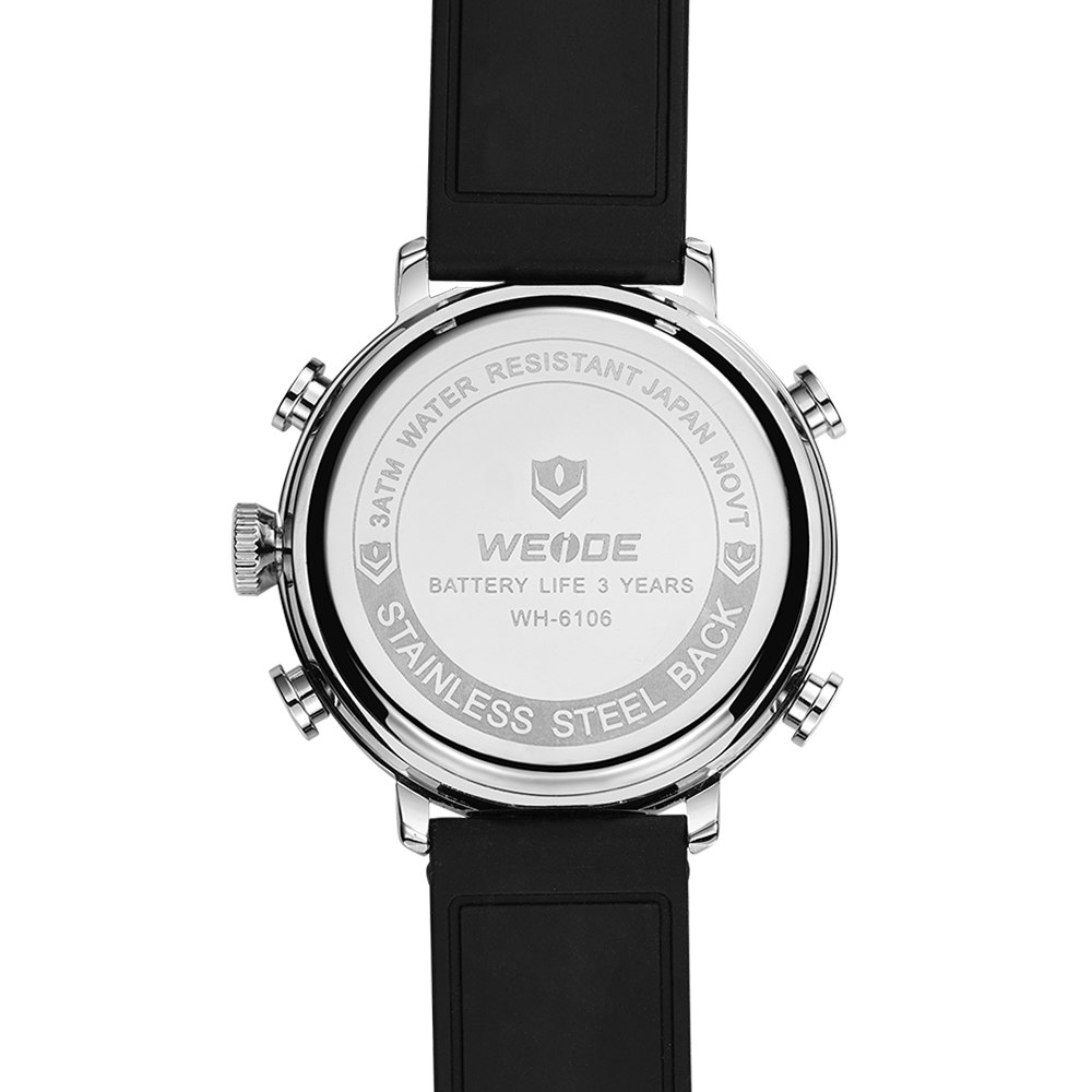 Weide Jam Tangan Analog Digital Pria - WH6106 - Black/Silver - 5 .