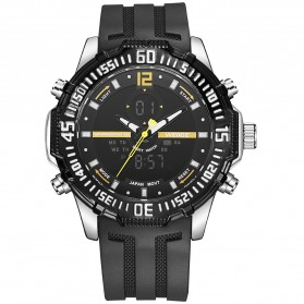 Weide Jam Tangan Pria Silicone - WH6105 - Black/Yellow