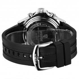 Weide Jam Tangan Pria Silicone - WH6105 - Black/Blue - 6