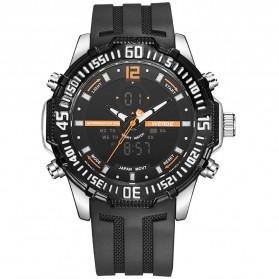Weide Jam Tangan Pria Silicone - WH6105 - Black/Orange