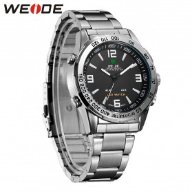 Weide Jam Tangan Sporty Pria - WH1009 - Black/Silver