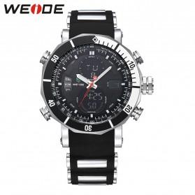 Weide Jam Tangan Analog Pria Dual Time Zone Strap Silicone - WH5203 - Black White