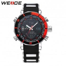 Weide Jam Tangan Analog Pria Dual Time Zone Strap Silicone - WH5203 - Red