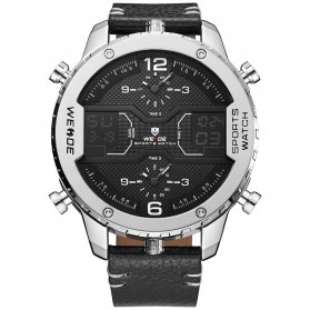 Weide Japan Quartz Leather Strap Men Sports Watch - WH6401 - Silver