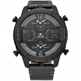 Weide Japan Quartz Leather Strap Men Sports Watch - WH6401 - Black/Black