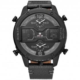 Weide Japan Quartz Leather Strap Men Sports Watch - WH6401 - Black/Black - 1