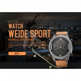 Weide Japan Quartz Leather Strap Men Sports Watch - WH6401 - Black/Black - 7