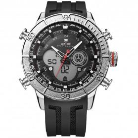 Weide Jam Tangan Digital Analog Strap Silicone - WH6308 - Black/Silver