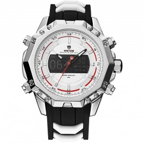 Weide Jam Tangan Analog Strap Silicone - WH6406 - White/Silver