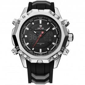 Weide Jam Tangan Analog Strap Silicone - WH6406 - Black/Silver