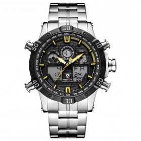 Weide Jam Tangan Sporty Stainless Steel - WH6901 - Black/Yellow - 1