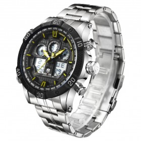 Weide Jam Tangan Sporty Stainless Steel - WH6901 - Black/Yellow - 2