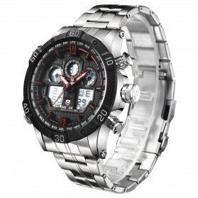 Weide Jam Tangan Sporty Stainless Steel - WH6901 - Black/Red - 2