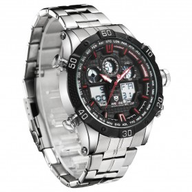 Weide Jam Tangan Sporty Stainless Steel - WH6901 - Black/Red - 3