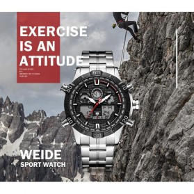 Weide Jam Tangan Sporty Stainless Steel - WH6901 - Black/Red - 6