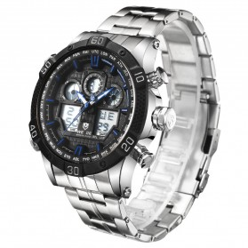 Weide Jam Tangan Sporty Stainless Steel - WH6901 - Black/Blue - 2