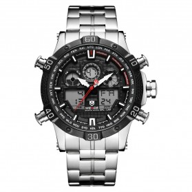Weide Jam Tangan Sporty Stainless Steel - WH6901 - Black White