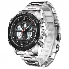 Weide Jam Tangan Sporty Stainless Steel - WH6901 - Black White - 2