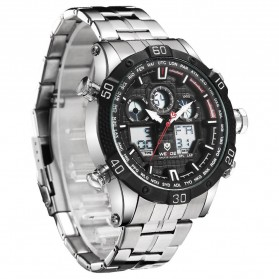 Weide Jam Tangan Sporty Stainless Steel - WH6901 - Black White - 3