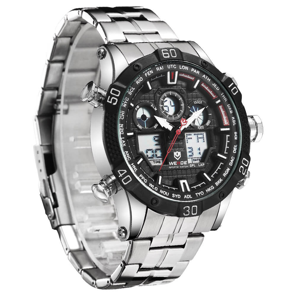Weide Jam Tangan Sporty Stainless Steel Wh6901 Black White Mini Pria Silver 01s 3
