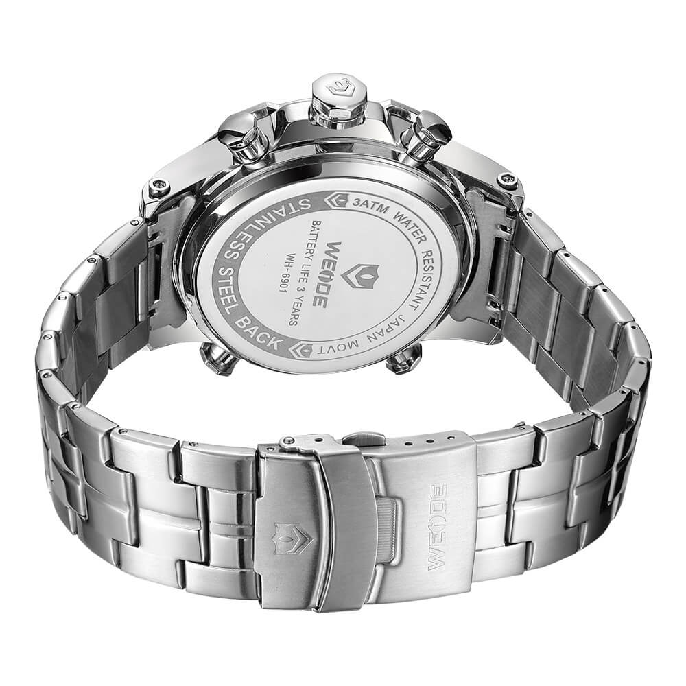 Weide Jam Tangan Sporty Stainless Steel Wh6901 Black White Mini Pria Silver 01s 5