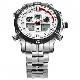 Weide Jam Tangan Sporty Stainless Steel - WH6901 - White/Black - 4