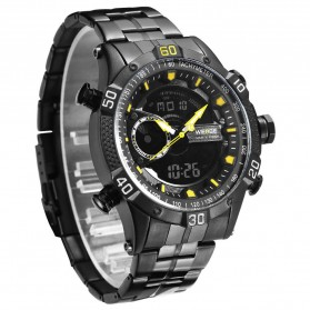 Weide Jam Tangan Digital Analog Pria Strap Stainless Steel - WH6902 - Black/Yellow - 4