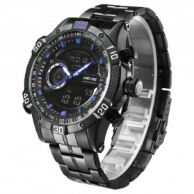 Weide Jam Tangan Digital Analog Pria Strap Stainless Steel - WH6902 - Black/Blue - 3