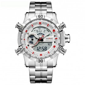 Weide Jam Tangan Digital Analog Pria Strap Stainless Steel - WH6902 - White