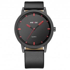 Weide Jam Tangan Kulit Analog Pria - WD001B - Black/Red
