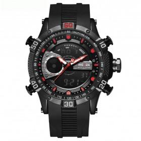 Weide Jam Tangan Digital Analog Pria Strap Silicone - WH6902 - Black/Red