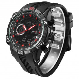 Weide Jam Tangan Digital Analog Pria Strap Silicone - WH6902 - Black/Red - 3