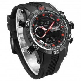 Weide Jam Tangan Digital Analog Pria Strap Silicone - WH6902 - Black/Red - 4