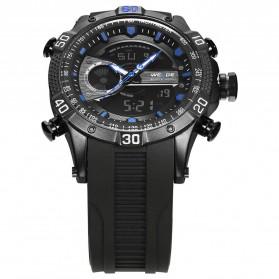 Weide Jam Tangan Digital Analog Pria Strap Silicone - WH6902 - Black/Blue - 2