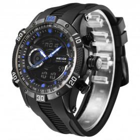Weide Jam Tangan Digital Analog Pria Strap Silicone - WH6902 - Black/Blue - 3