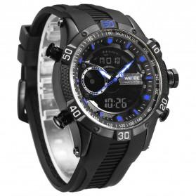 Weide Jam Tangan Digital Analog Pria Strap Silicone - WH6902 - Black/Blue - 4