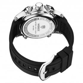 Weide Jam Tangan Digital Analog Pria Strap Silicone - WH6902 - Black White - 5