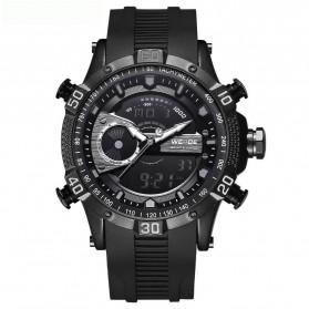 Weide Jam Tangan Digital Analog Pria Strap Silicone - WH6902 - Black/Black