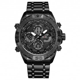 Weide Jam Tangan Analog Digital Pria Strap Stainless Steel - WH6909 - Black/Black