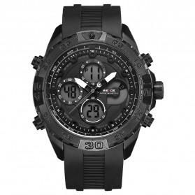 Weide Jam Tangan Analog Digital Pria Strap Silicone - WH6909 - Black/Black